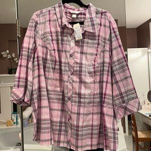 3x CJ Banks 3/4 sleeve button down shirt NWT